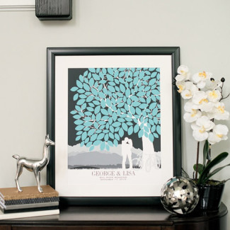 Blue themed wedding guest book tree on coffee table from PaperRamma
