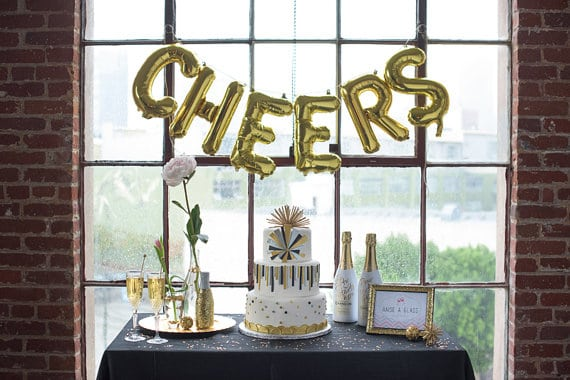 cheers gold letter balloons by oh shiny paper co