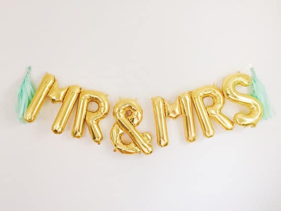 gold foil balloons spelling mr mrs from oh shiny paper co