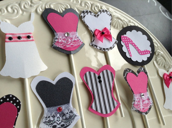 Bachelorette party decor cupcake toppers in lingerie shapes