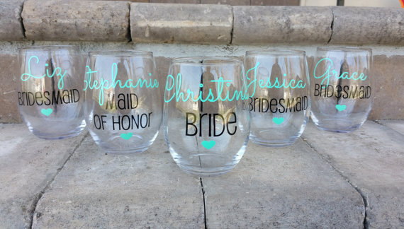 Bridesmaid Wine Glasses Weddings By Leann