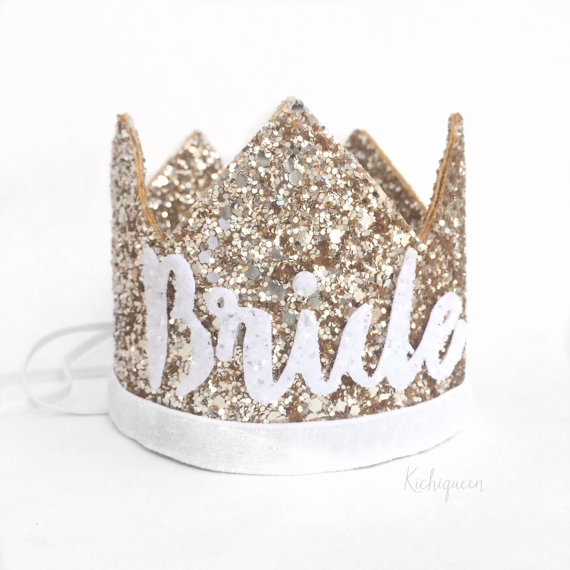 Bachelorette party glitter crown tiara by Kichi queen