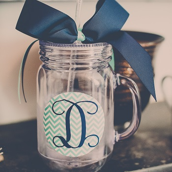 mason jar mug with custom label and blue bow