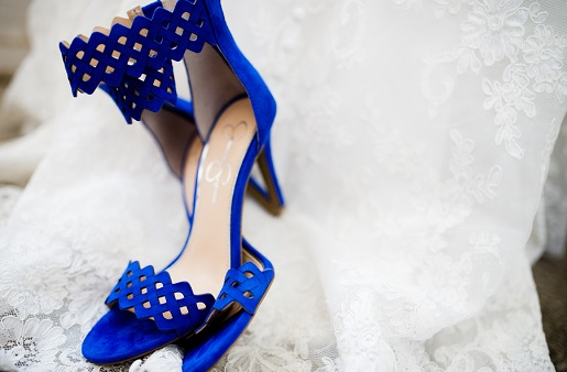 Blue heeled sandles for bridal shoes