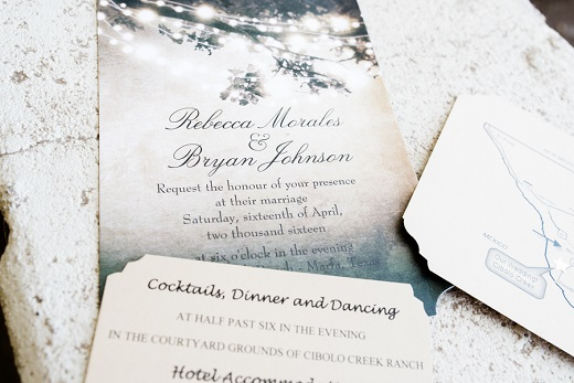 Blue outdoor wedding themed wedding stationery invites