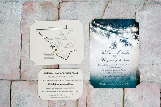 Blue outdoor wedding themed wedding stationery