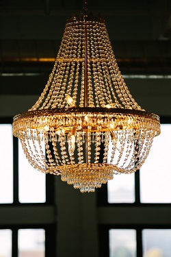 Chandalier at The Burroughes Building warehouse wedding venue