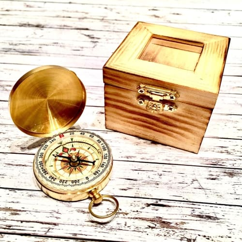 engraved compass for groom gift