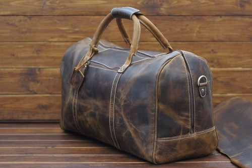 Handmade leather duffel bag for groom gift