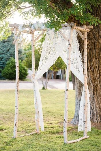 Rustic Birch Altar for wedding at Presidio County Courthouse