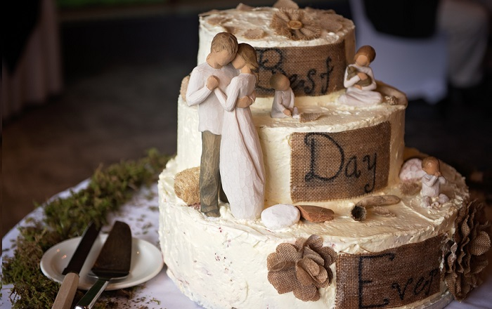Rustic wedding cake with Willow Tree Promise figuring for cake topper - small beach wedding ceremony