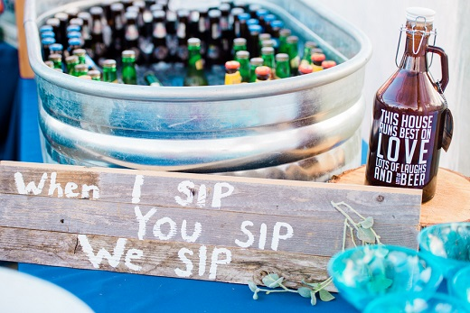 Tin bucket with beer for wedding reception