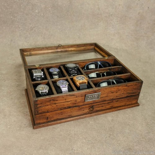 watch and sunglass storage case in wood