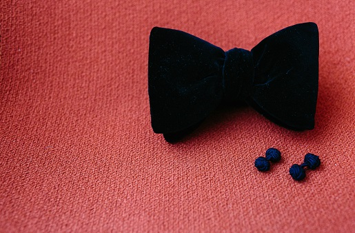 black bow tie and nautical knot themed cuff links