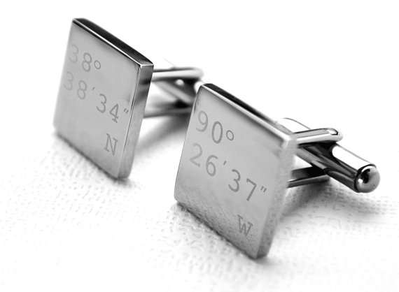 personalized cufflinks with latitude and longitude