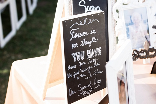 wedding sign for loved ones who have dies