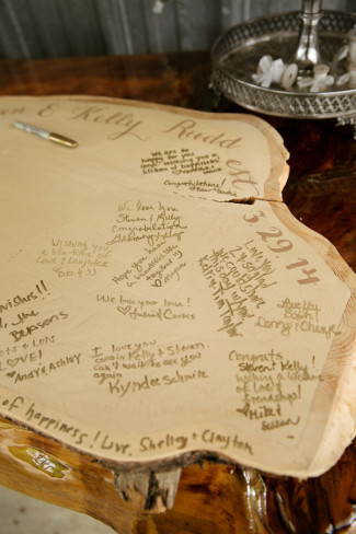 Wood slab wedding guestbook