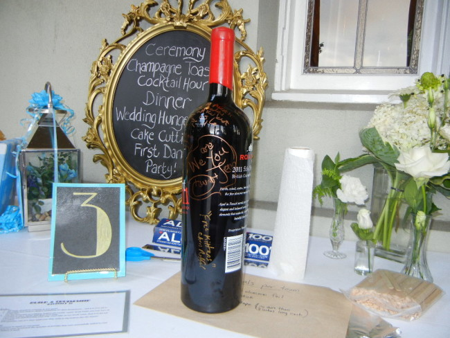 Jeroboam wine bottle as wedding guest book