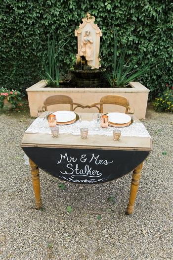 Bride and groom table at Brander Vinyard wedding reception