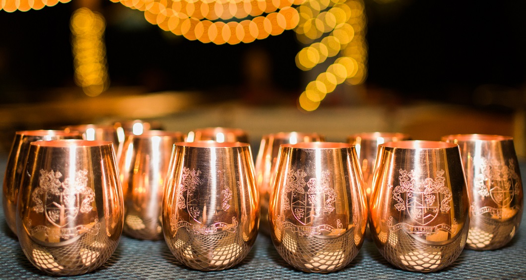 Copper cup rows for wedding favors