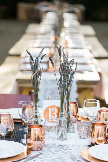 Outdoor wedding reception at Brander Vineyards with lavender, lace and copper touches 1