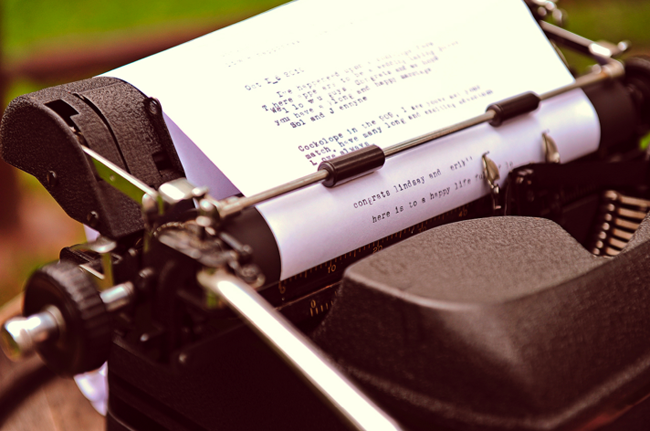 Vintage typewrite for wedding guestbook