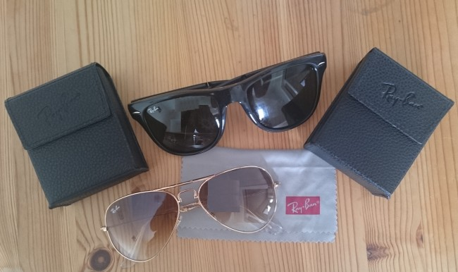 Ray ban fold up sun glasses and case for honeymoon travel1