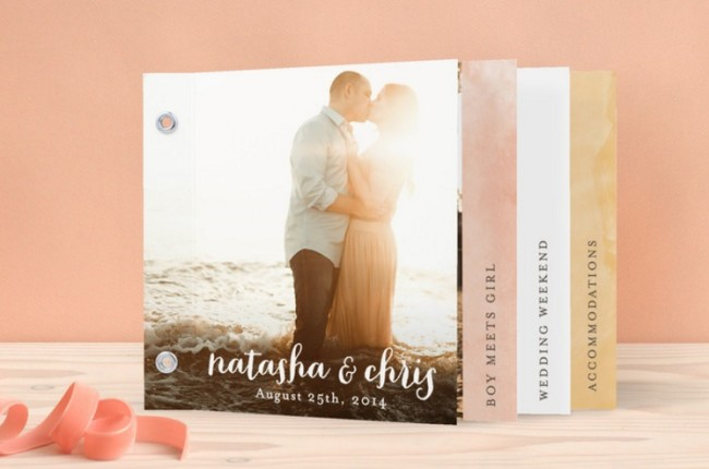 Watercolor minibook wedding invitation by minted