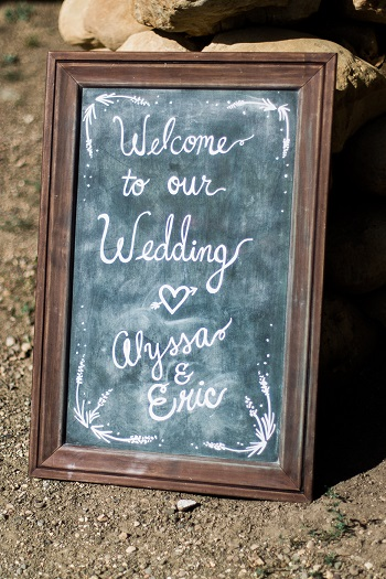 chalkboard for outdoor vinyard wedding ceremony