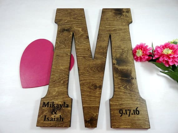 wood wall letter by all wood too for wedding guest book