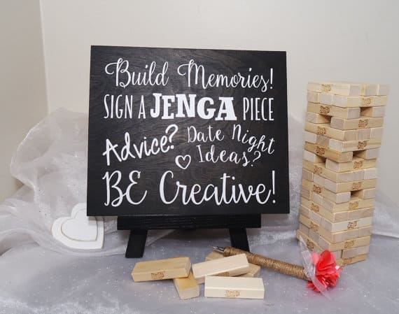 Jenga wedding guest book by Crafty Witches Decor