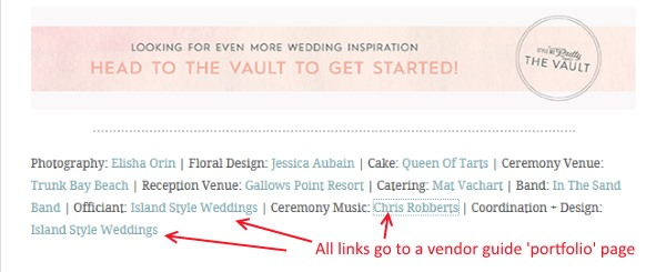 stylemepretty screenshot showing backlinks to wedding vendor pages