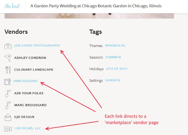 theknot.com wedding vendor links example