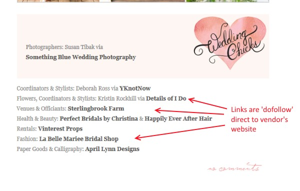 weddingchicks.com real wedding vendor link screenshot