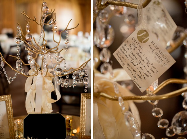 Gold wishing tree for a wedding guest book