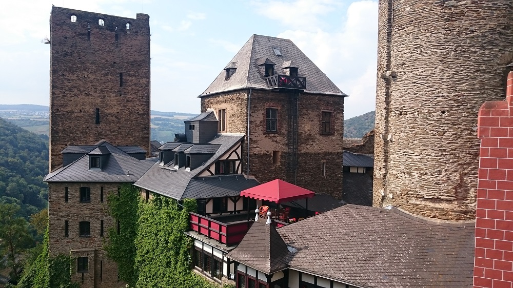 view of towers at Schönburg Castle