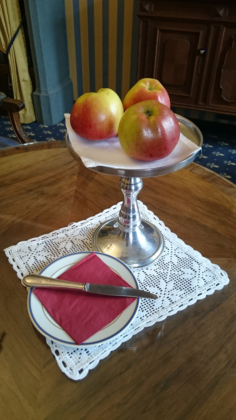 fruit on silver tray