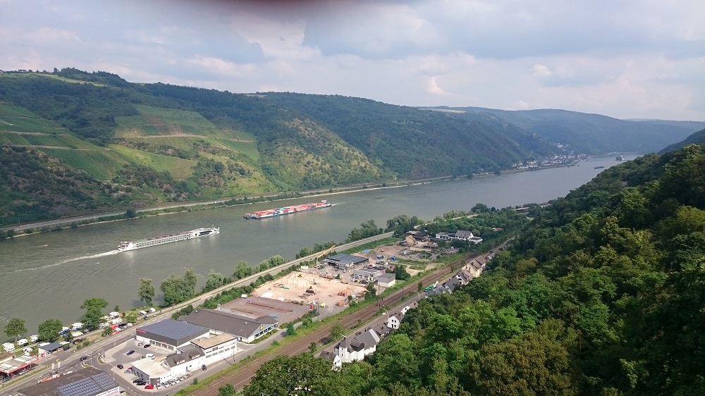view of Rhine River with cruise ship
