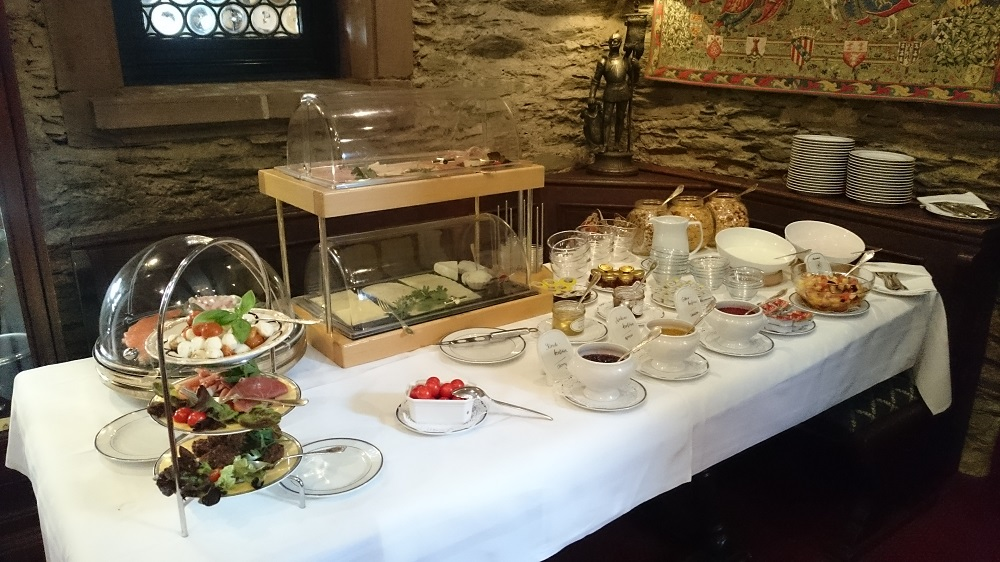 buffet breakfast spread at castle