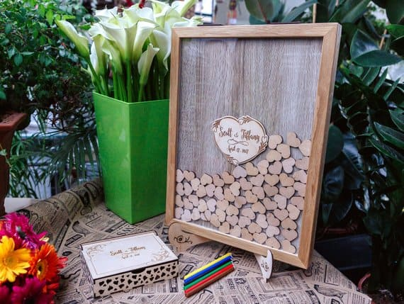 Heart Drop top wedding guest book