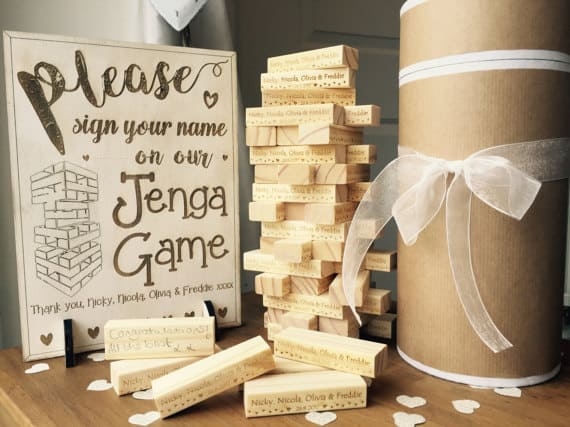 Personalised Jenga Wedding Game Set with Gift Box and Wooden Sign