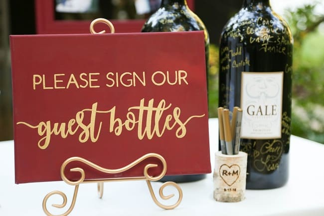 Sign out guest wine bottle alternative wedding guestbook ideas