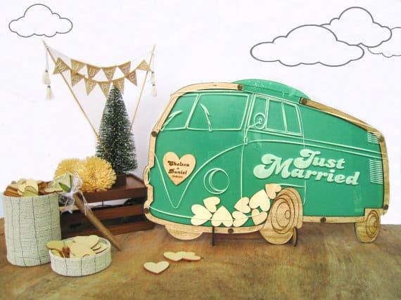 VW Camper Van Wedding Guest Book Alternatives Drop Top Wooden Hearts Personalized Vintage Volkswagen Camper Anniversary Party