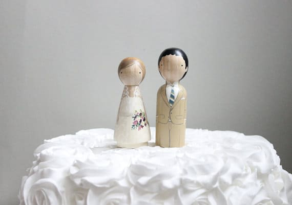 Wooden Peg Dolls Wedding Cake Toppers by Goose Grease