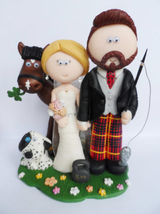 Scottish theme personalized wedding cake topper