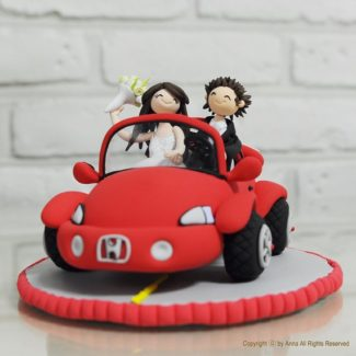 Clay race car personalized wedding cake topper