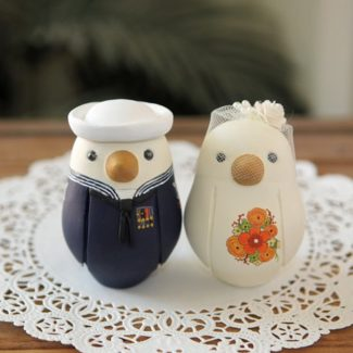 Sailor themed love bird wedding cake topper