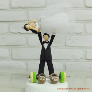 Weightlifting themed customized wedding cake topper