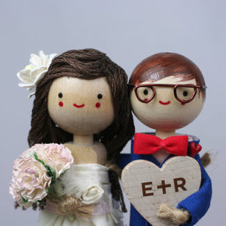 Nerd themed personalized wedding cake topper