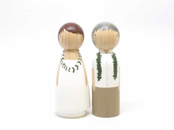 Hawaiian themed Wooden Peg Dolls personalized Wedding Cake Toppers